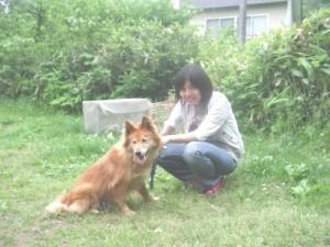 ポッキー(雑種)と飼い主さん。ポッキー良かったネ。2008.6.21